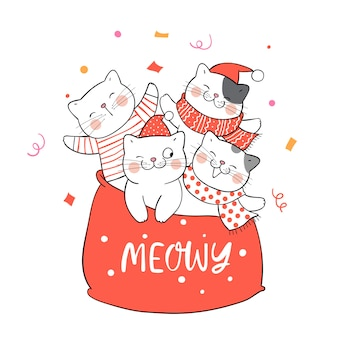 Draw cats in santa claus red bag christmas.