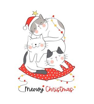 Нарисуйте кошек, спящих на красной подушке на зимнее рождество.