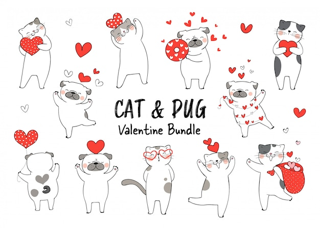 Draw character cat and pug dog fall in love for valentine day.