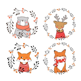 Draw character cute animal in autumn