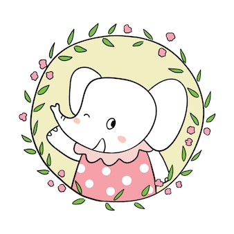 Draw character elephant in flower frame