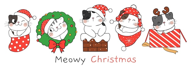 Draw character happy cat for christmas and new year