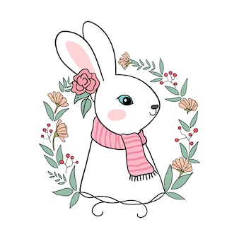 美しい花輪でキャラクターウサギを描く