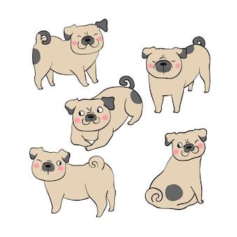 Draw character set pug dog brown color
