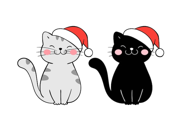 Draw christmas cat with party hat.