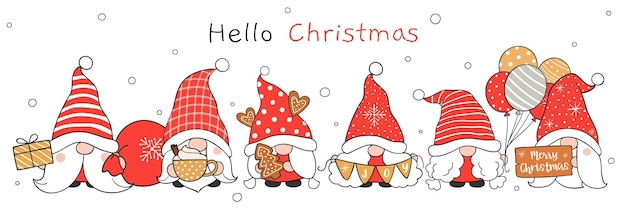 Draw christmas gnome new year and winter