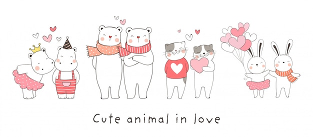 Draw collection animal in love