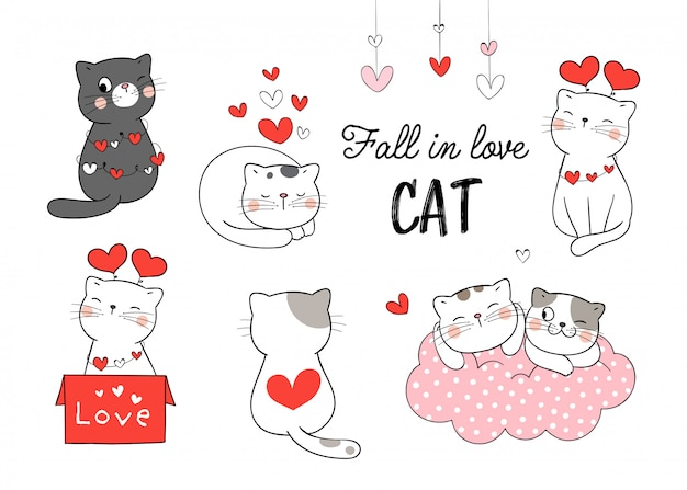 Draw collection cat fall in love for valentine day.