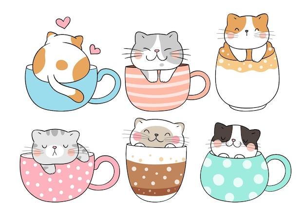 Нарисуйте коллекцию кошек, спящих в чашке кофе, каракули мультяшном стиле