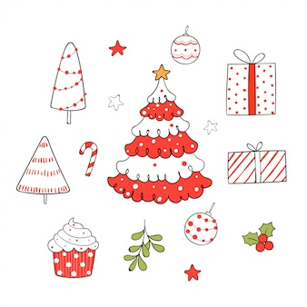Draw collection christmas elements on white.