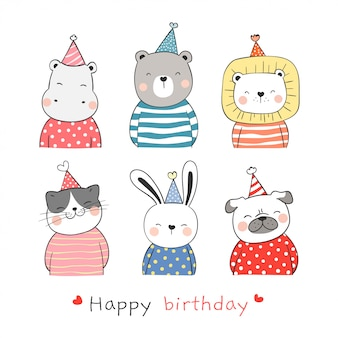 Draw collection cute animal with party hat for birthday.