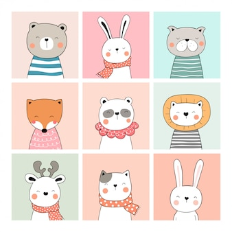 Draw collection cute card of animal doodle cartoon style.