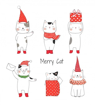 Draw collection cute cat for christmas and new year.