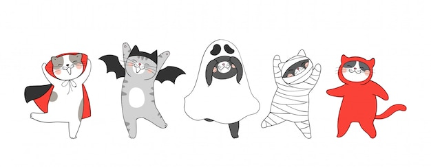 Нарисуйте коллекцию милый кот. на хэллоуин.