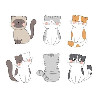 Нарисуйте коллекцию милый кот на белом. каракули мультяшном стиле.