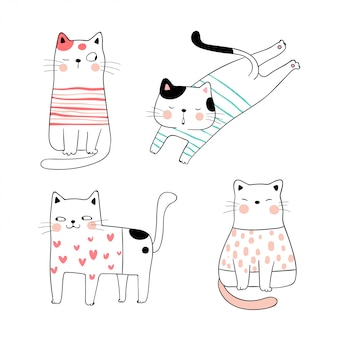 Draw collection cute cat in sweet color.