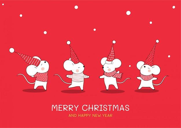 Нарисуйте коллекцию милой мышки на рождество и новый год.