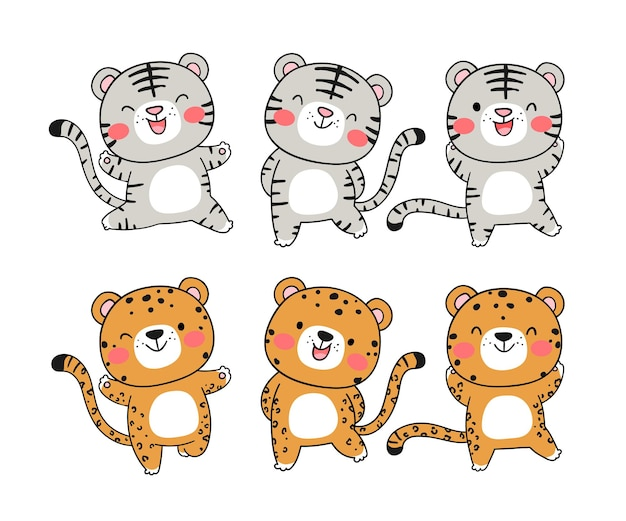Draw collection cute tiger for christmas and new year