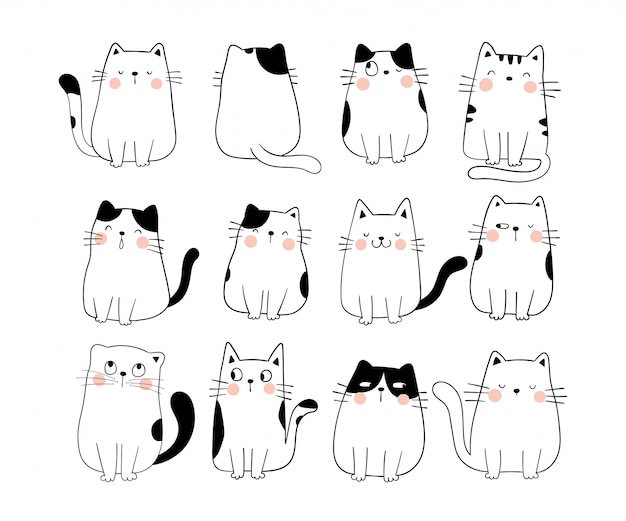 Draw collection funny cat doodle cartoon style.