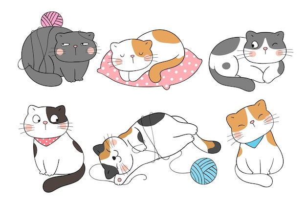 Draw collection funny cat doodle cartoon style