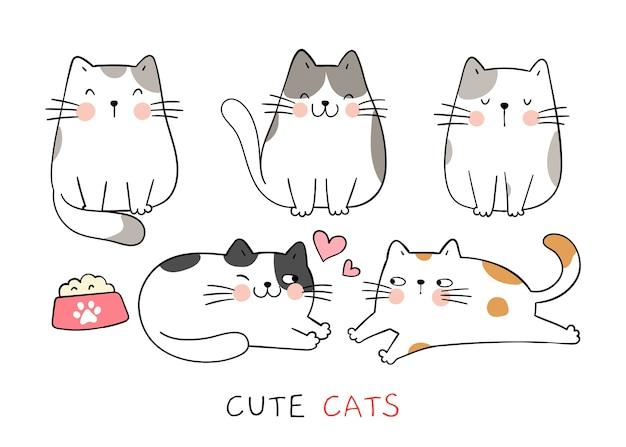 Нарисуйте коллекцию забавных кошек doodle мультяшном стиле.