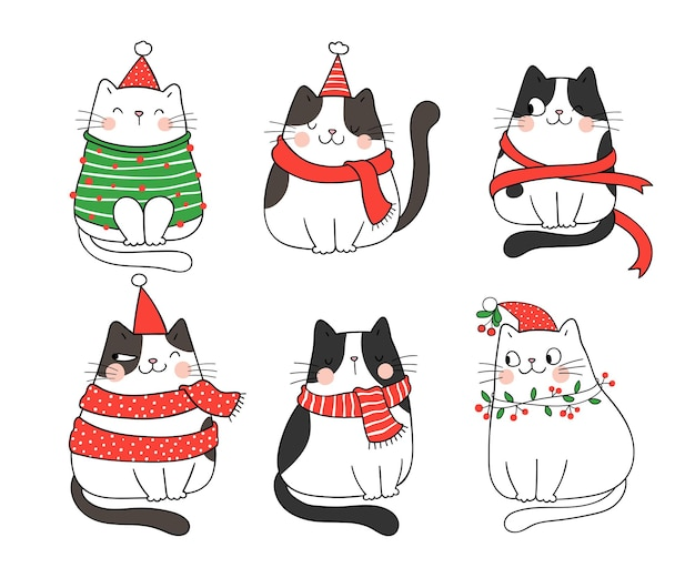 Draw collection funny cats for winter and new year