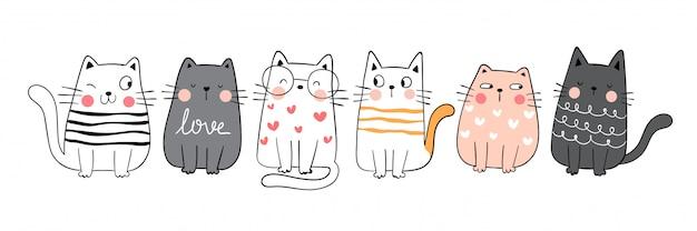 Нарисуйте коллекцию забавный милый кот. каракули мультяшном стиле.
