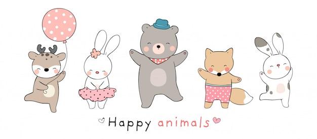 Нарисуйте коллекцию счастливых животных.