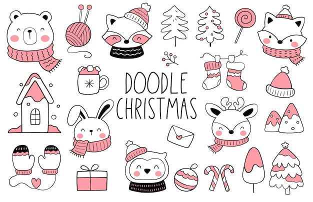 Draw collection happy woodland animals for christmas Premium Vector