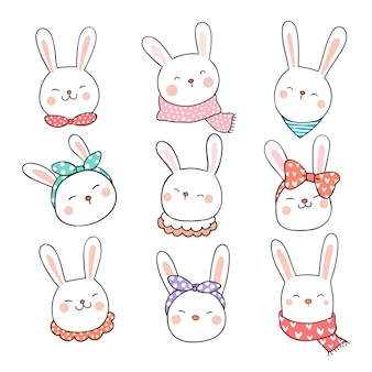 Draw collection head of rabbit on white