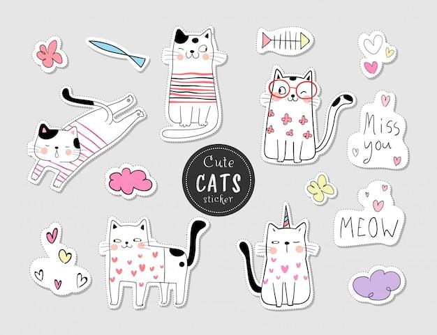 Нарисуйте коллекцию наклеек кот. каракули в мультяшном стиле.