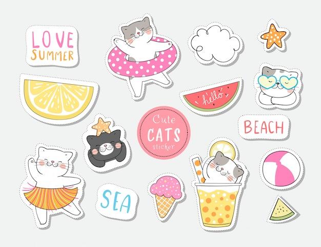 여름에 수집 스티커 고양이를 그립니다.