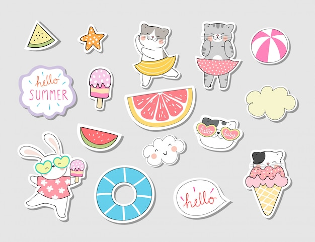 Draw collection stickers cat in summer concept.