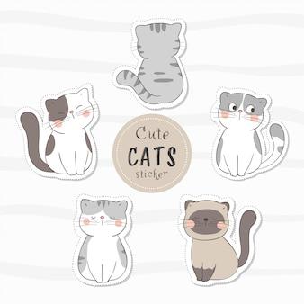 Нарисуйте коллекцию наклеек милый кот. каракули мультяшном стиле.