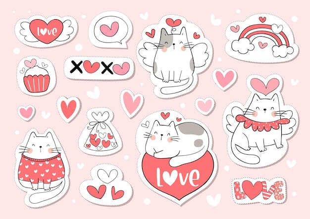 Draw collection stickers cute cat for valentine