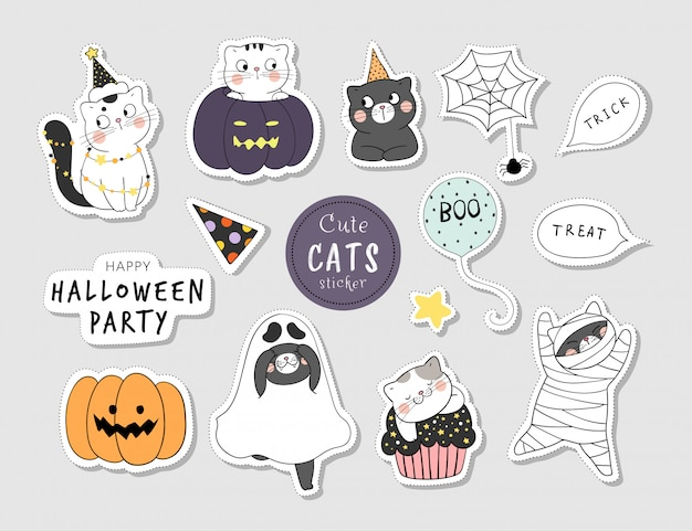 Draw collection stickers funny cat for halloween.