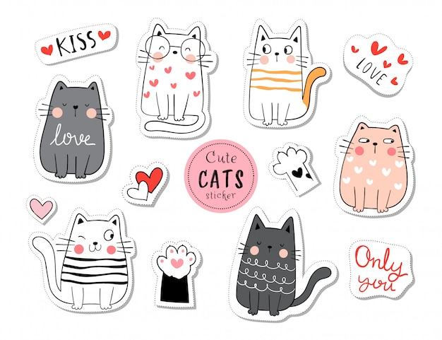 Draw collection stickers funny cat in love concept.