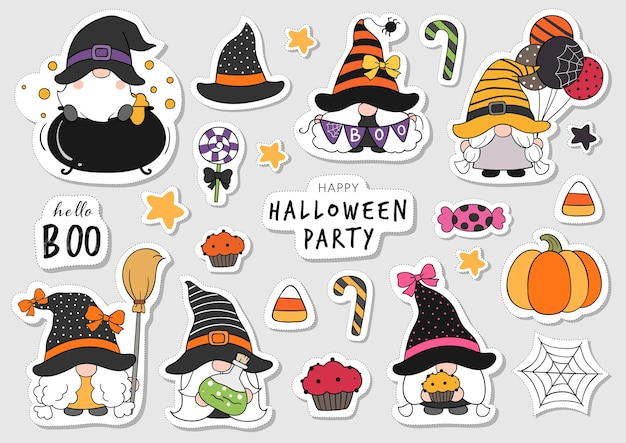 Draw collection stickers gnome for halloween