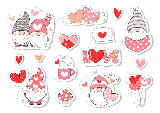 Нарисуйте коллекцию наклеек сладкий гномик на валентинку.