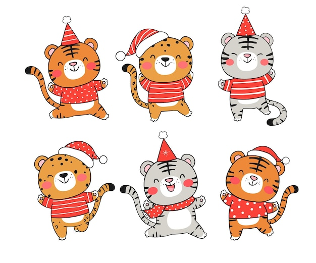 Draw collection tiger with santa hat for christmas and new year