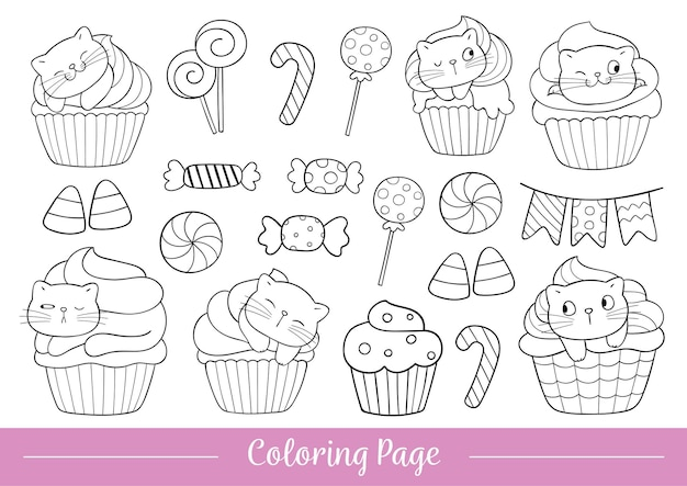Draw coloring page cat cupcake in halloween