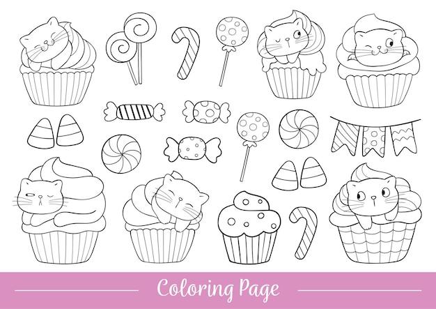 ハロウィーンの着色ページ猫のカップケーキを描く
