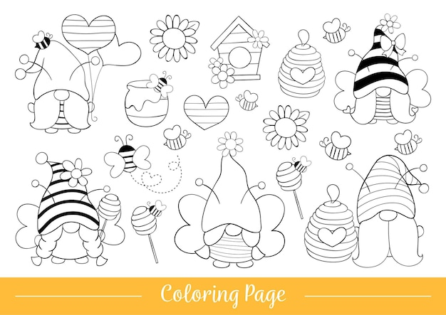 Draw coloring page cute bumble bee gnome for spring