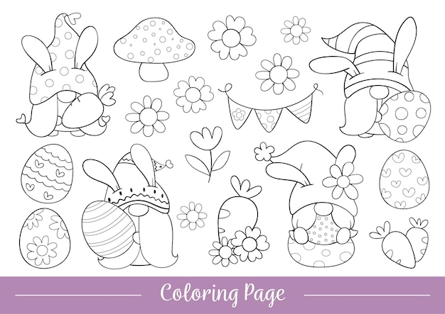 Draw coloring page cute gnome for easter and spring