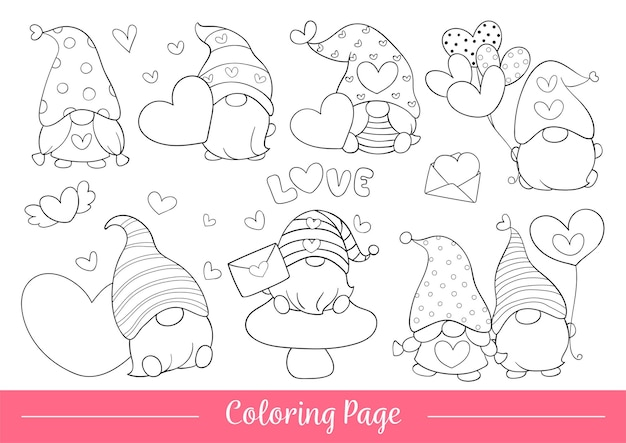 Draw coloring page of cute gnome for valentine