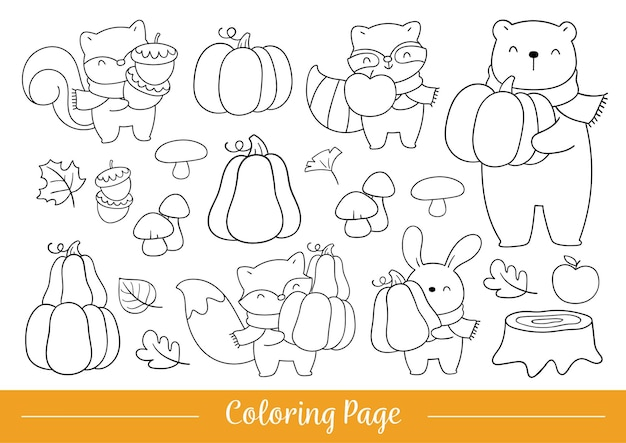 Draw coloring page cute woodland animals for fall and autumn
