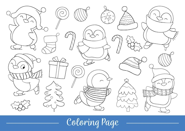Draw coloring page funny penguin in winter