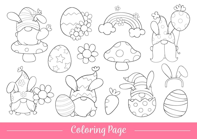 Draw coloring page of gnome for easter and spring