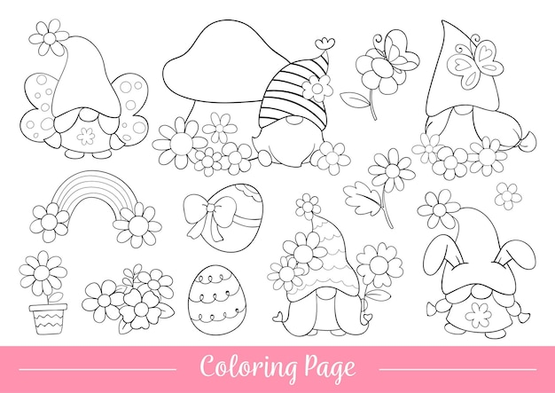 Draw coloring page of gnome for spring