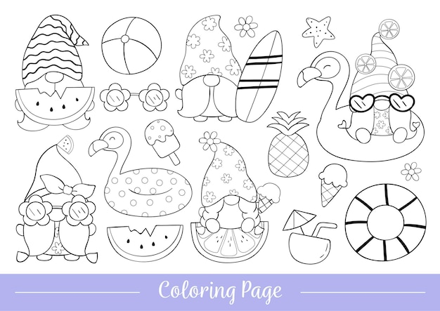 Draw coloring page of gnome for summer